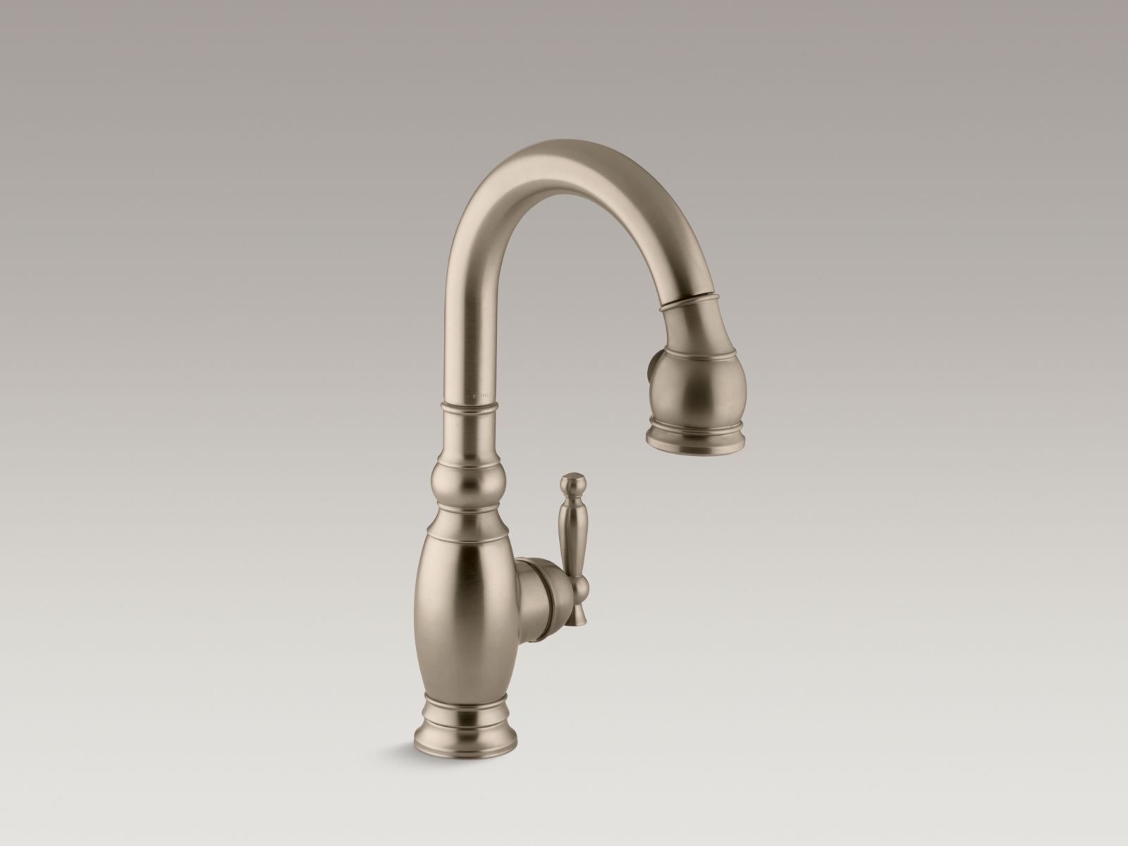 "Kohler K-691-BV Vinnata Single-hole Kitchen Sink Faucet with Pull-down 16"" Spout and Lever Handle Brushed Bronze"