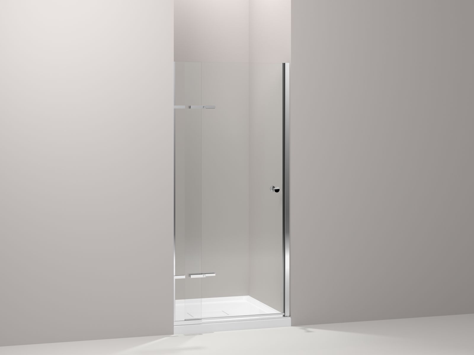 "Kohler Underline™ K-709033-L-SHP pivoting shower door, 69-1/2"" x 31-1/4 - 36"" W, with adjustable hinges and 1/4"" thick Crystal Clear glass Bright Polished Silver"