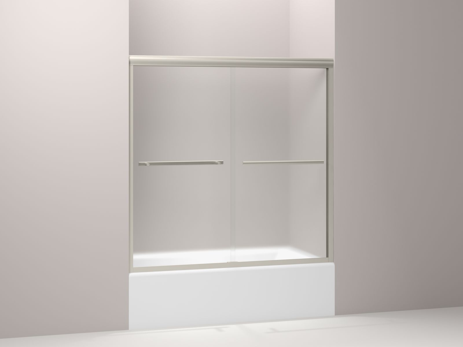 "Kohler Gradient™ K-709062-D3-MX sliding bath door 58-1/16"" H x 59-5/8"" W, with 1/4"" thick Frosted glass Matte Nickel"