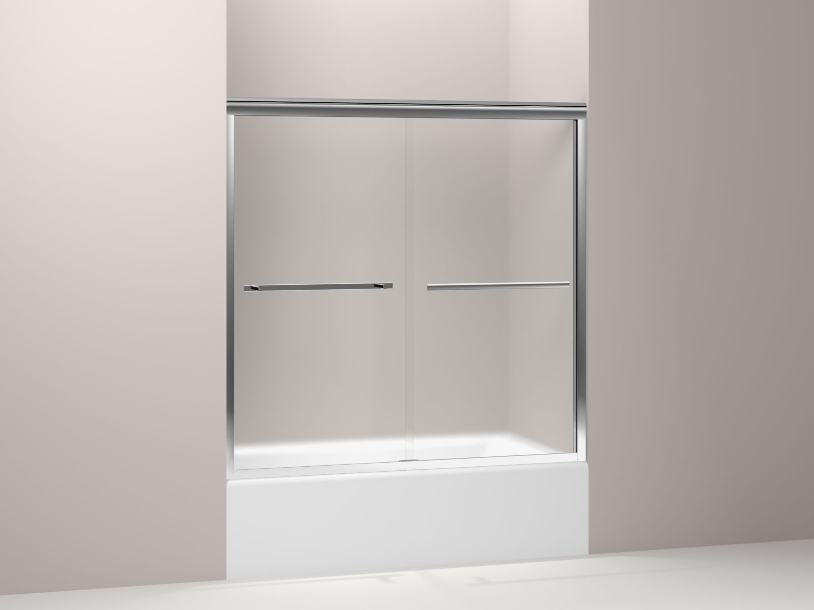 "Kohler Gradient™ K-709062-D3-SHP sliding bath door 58-1/16"" H x 59-5/8"" W, with 1/4"" thick Frosted glass Bright Polished Silver"