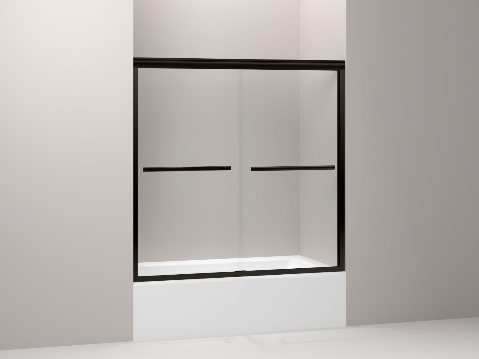 "Kohler Gradient™ K-709062-L-ABZ sliding bath door, 58-1/16"" H x 59-5/8"" W, with 1/4"" thick Crystal Clear glass Anodized Dark Bronze"