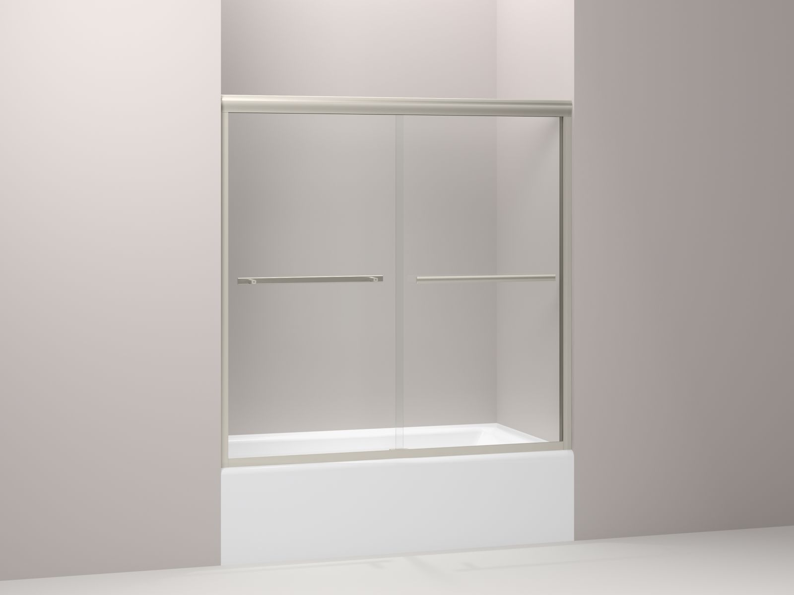 "Kohler Gradient™ K-709062-L-MX sliding bath door, 58-1/16"" H x 59-5/8"" W, with 1/4"" thick Crystal Clear glass Matte Nickel"
