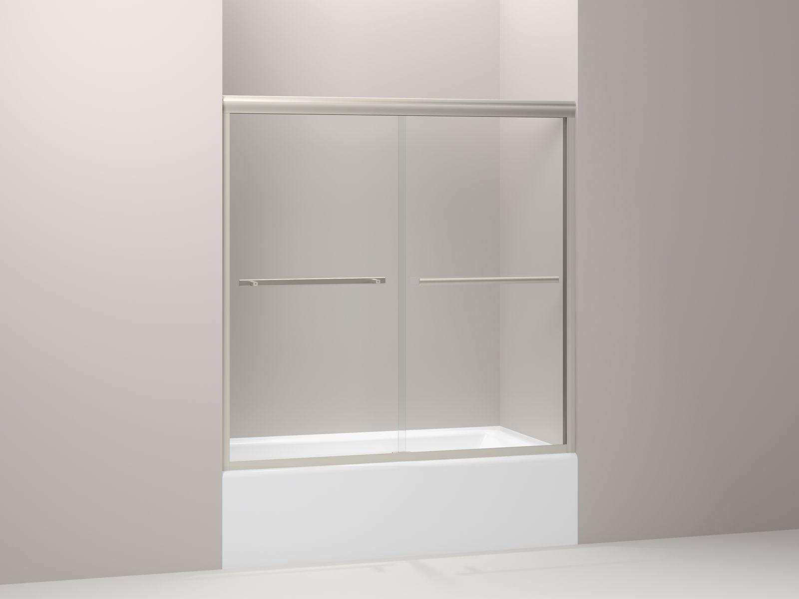 "Kohler Gradient™ K-709062-L-MX sliding bath door, 58-1/16"" H x 59-5/8"" W, with 1/4"" thick Crystal Clear glass Matte Nickel"