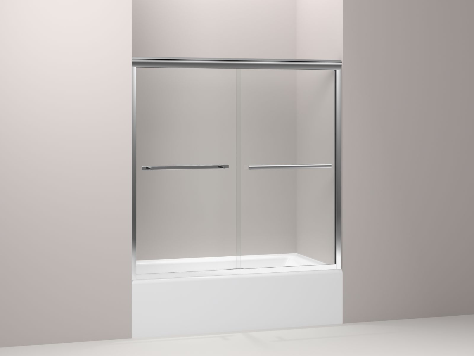 "Kohler Gradient™ K-709062-L-SHP sliding bath door, 58-1/16"" H x 59-5/8"" W, with 1/4"" thick Crystal Clear glass Bright Polished Silver"