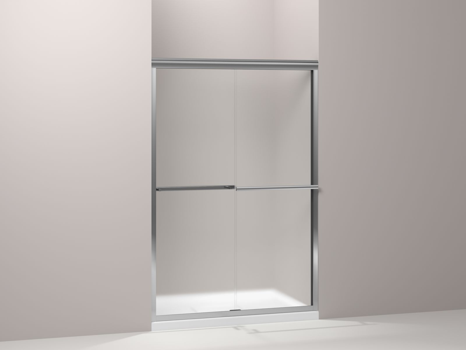 "Kohler Gradient™ K-709063-D3-SHP sliding shower door, 70-1/16"" H x 47-5/8"" W, with 1/4"" thick Frosted glass Bright Polished Silver"