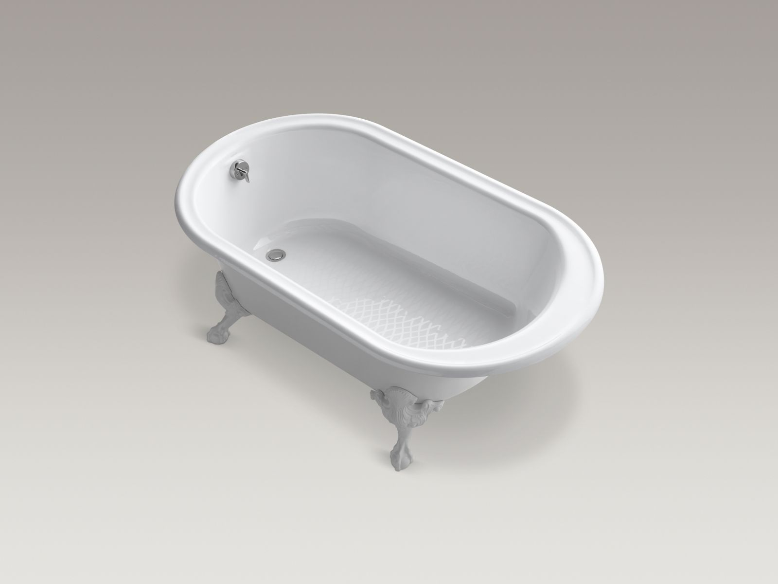 "Kohler K-710-W-0 Iron Works Historic 66"" x 36"" Freestanding Soaker Bathtub with White Exterior White"