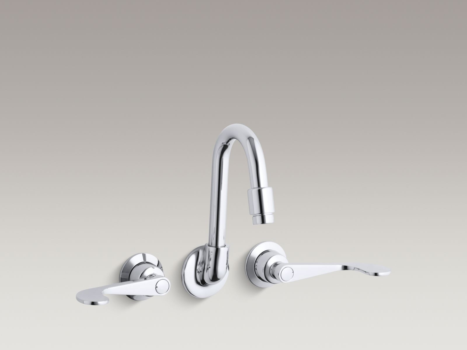 Kohler K-7302-5A-CP Triton Shelf-back Double Wristblade Lever Handle Sink Faucet Polished Chrome