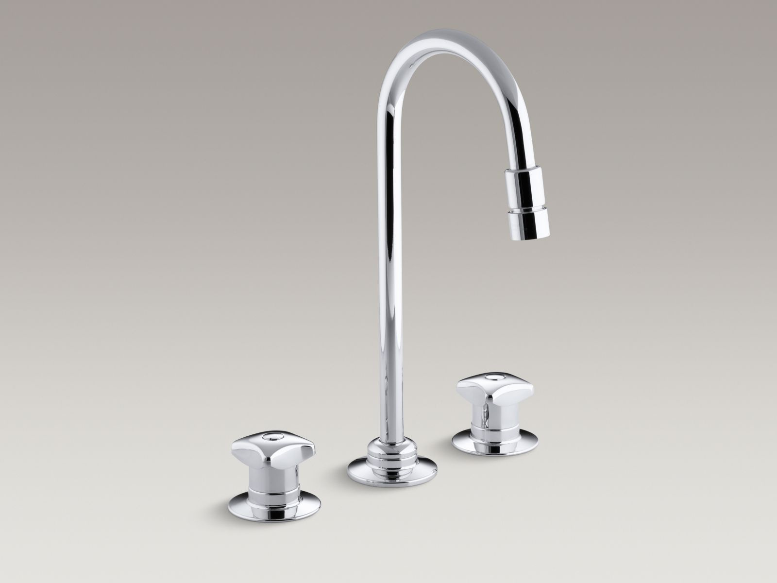 Kohler K-7304-KE-CP Triton Widespread Handle-less Commercial Bathroom Faucet with Flexible Connections and Vandal-resistant Gooseneck Spout Polished Chrome
