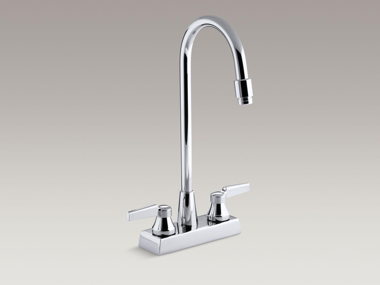 Kohler K-7305-KE-CP Triton Centerset Handle-less Commercial Bathroom Faucet with Vandal-resistant Aerated Gooseneck Spout Polished Chrome