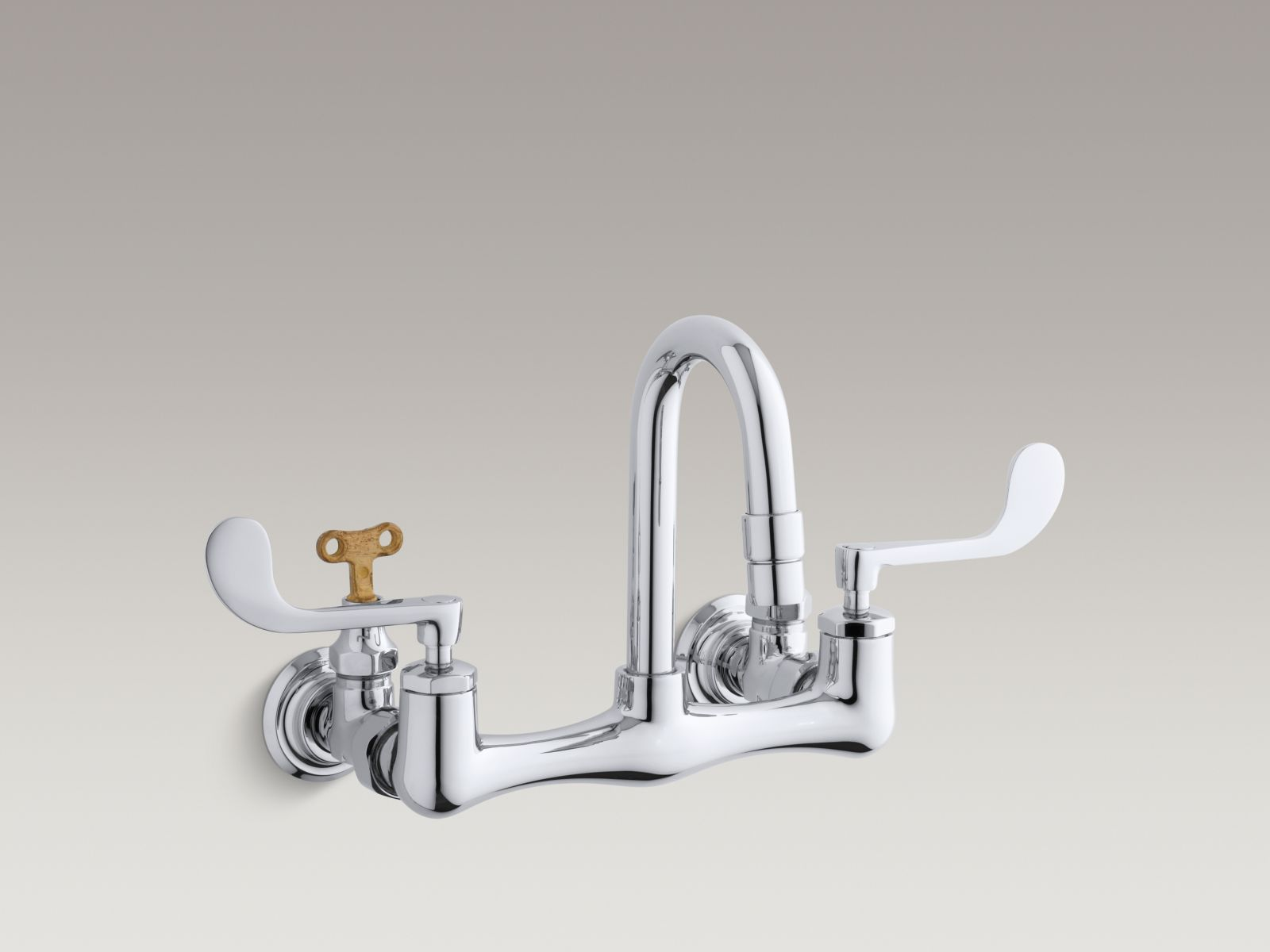 Kohler K-7308-5A-CP Triton Shelf-back Double Wristblade Handle Sink Faucet with Loose-key Stops Polished Chrome