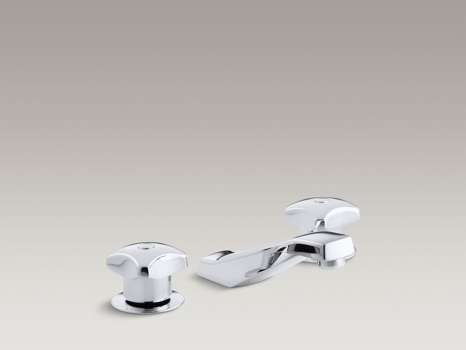"Kohler K-7443-2A-CP Triton Widespread Commercial Bathroom Faucet with Standard Handles and 5"" Standard Spout Polished Chrome"