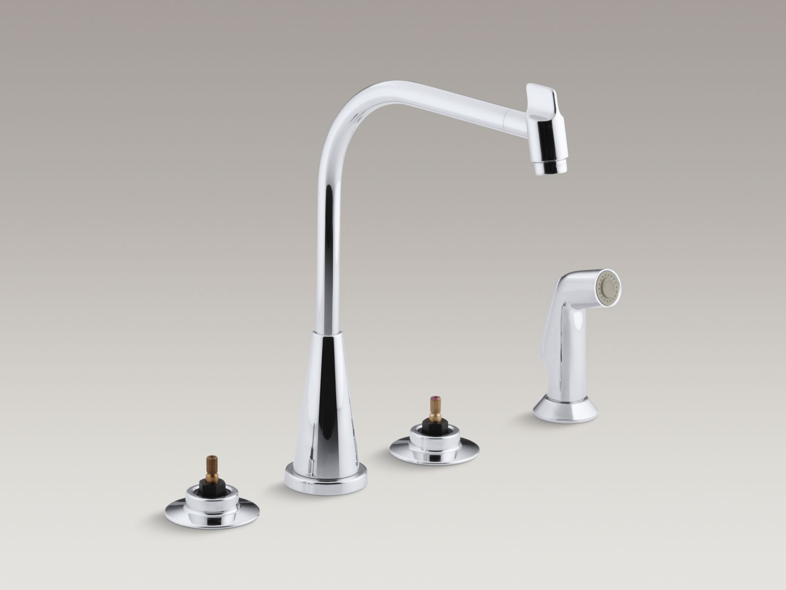 """Kohler K-7779-K-CP Triton Widespread Handle-less Kitchen Faucet with 8"""" Multi-swivel Spout and Sidespray Polished Chrome"""