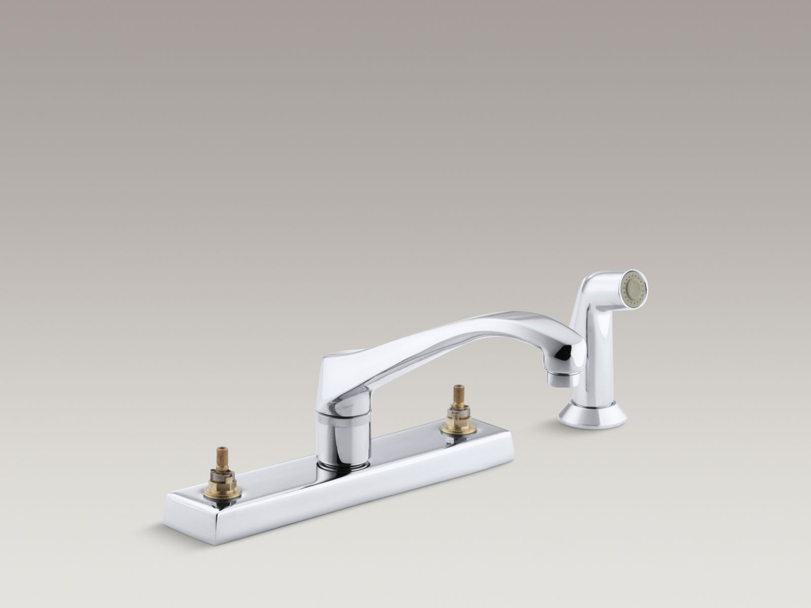 """Kohler K-7827-K-CP Triton Widespread Handle-less Kitchen Faucet with 9"""" Low-arc Spout and Sidespray Polished Chrome"""
