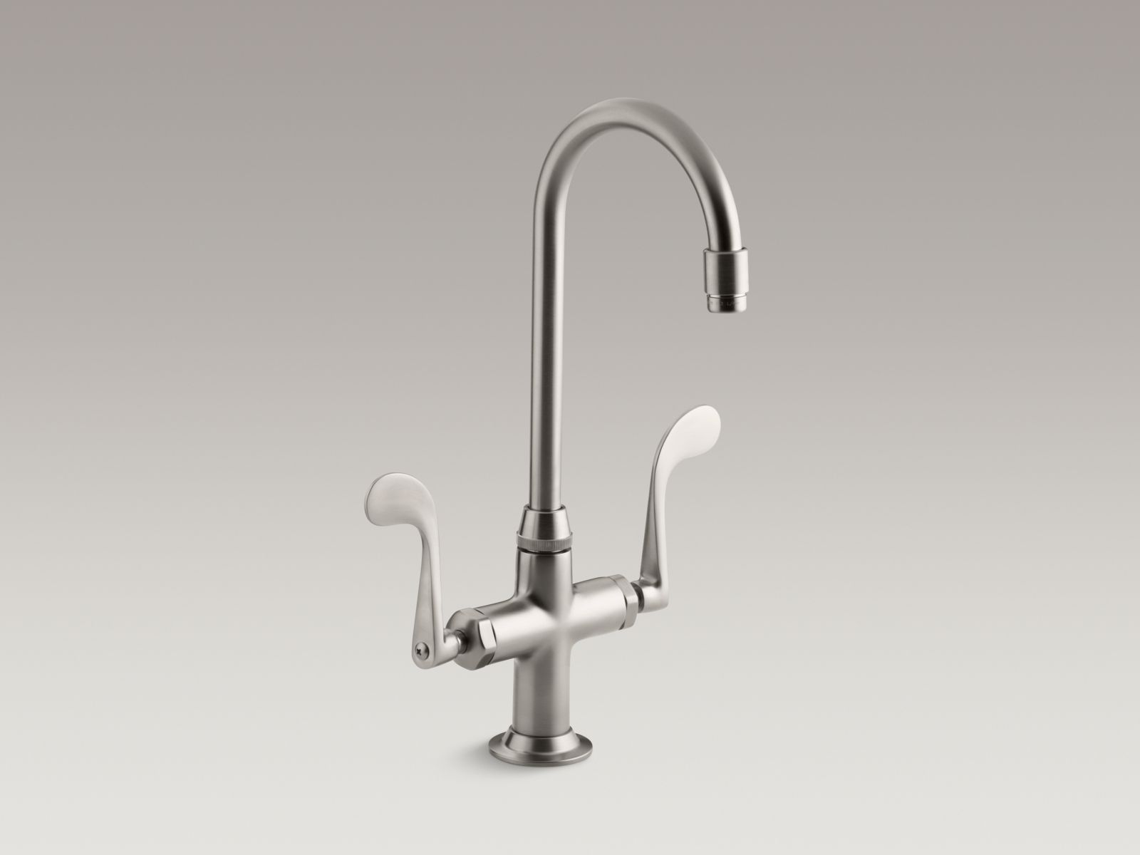 Kohler K-8761-VS Essex Single-hole Two-handle Bar Faucet with Wristblade Handles Vibrant Stainless