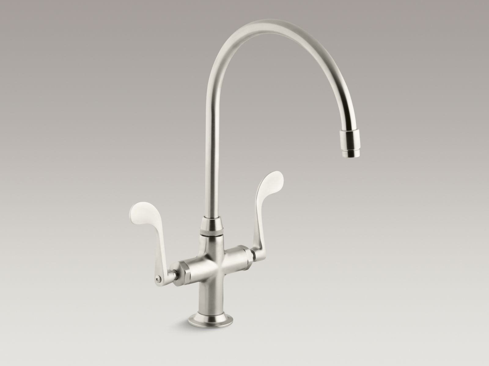 "Kohler K-8762-BN Essex Single-hole Two-handle Bar Faucet with 9"" Gooseneck Spout and Wristblade Handles Brushed Nickel"