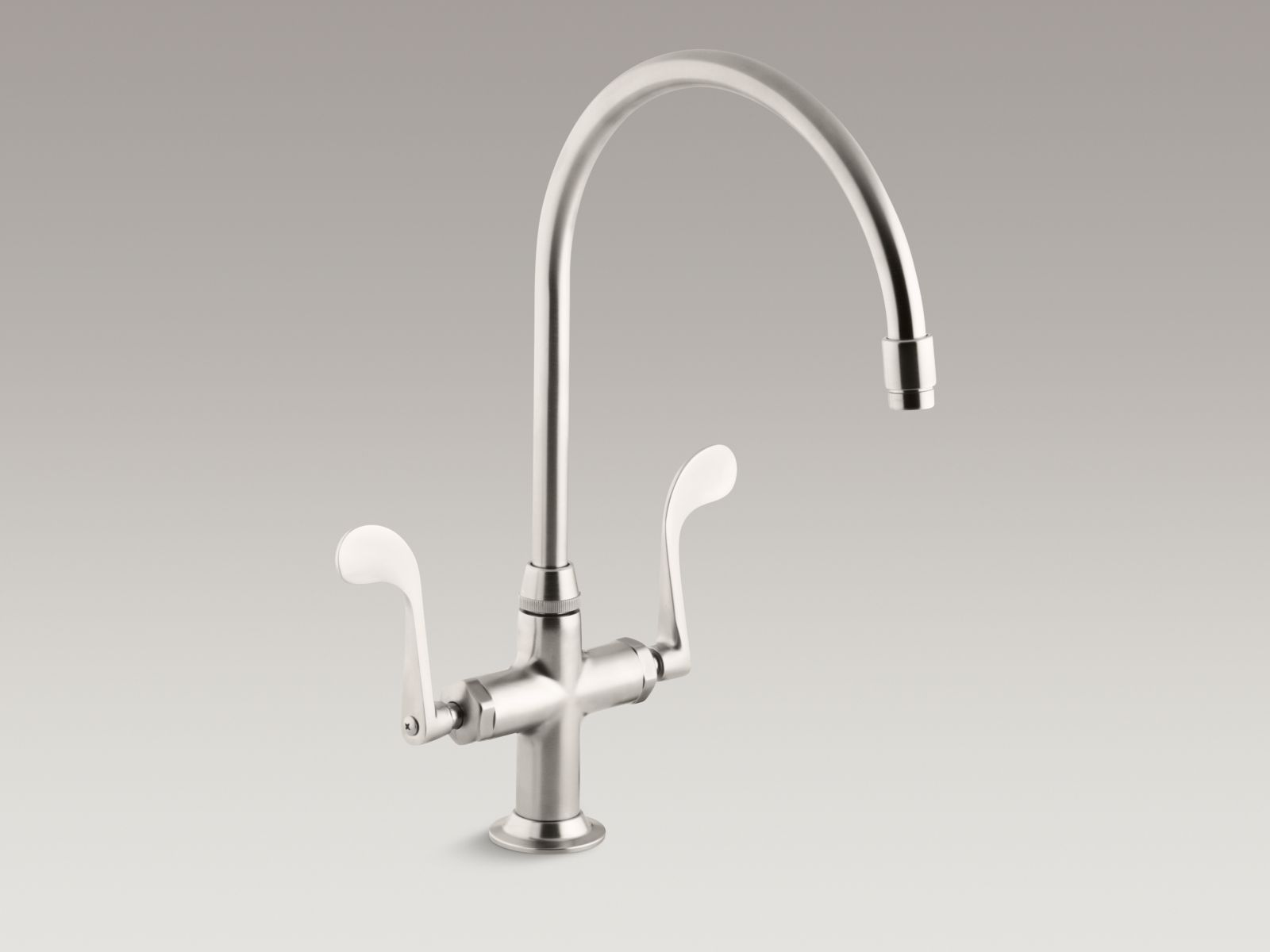 "Kohler K-8762-VS Essex Single-hole Two-handle Bar Faucet with 9"" Gooseneck Spout and Wristblade Handles Vibrant Stainless"