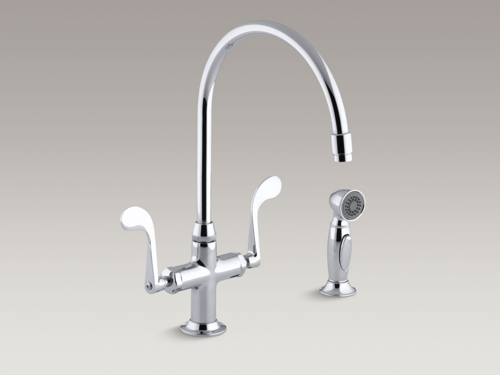 """Kohler K-8763-CP Essex Single-hole Two-handle Bar Faucet with 9"""" Gooseneck Spout, Color-matched Sidespray, and Wristblade Handles Polished Chrome"""