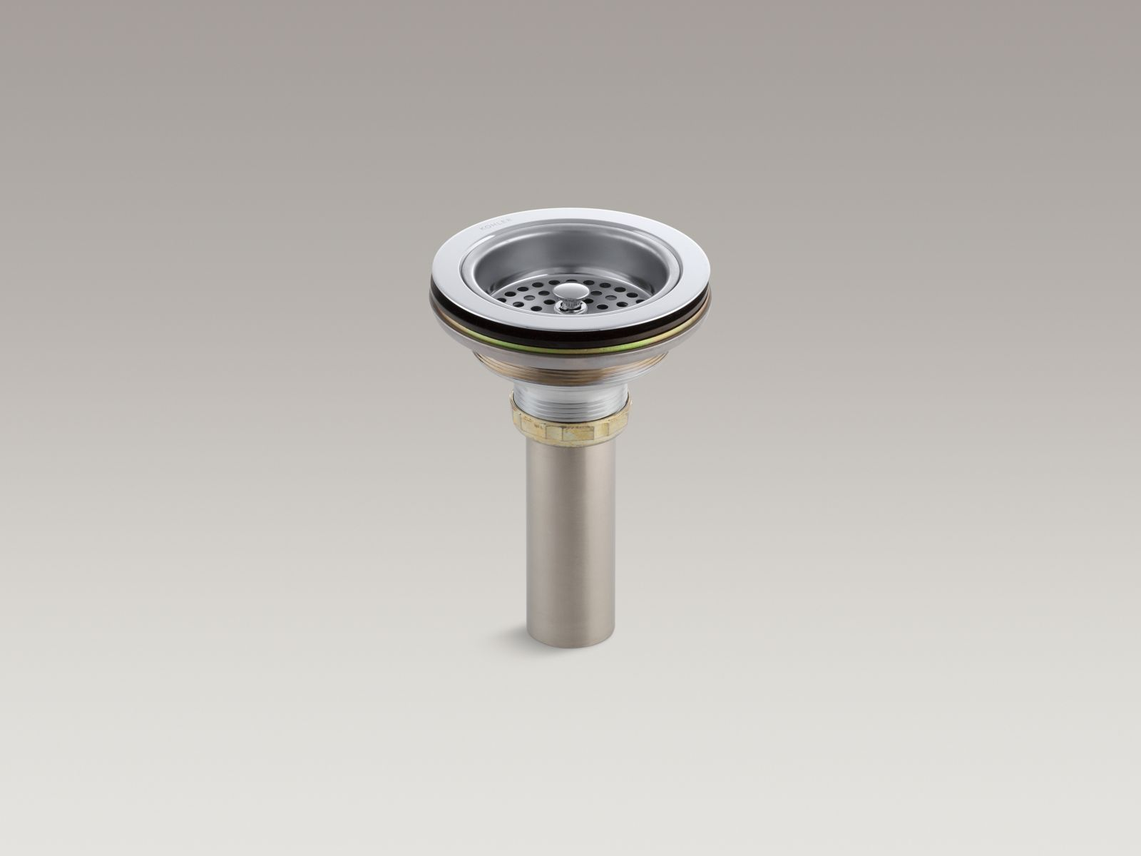 Kohler K-8801-CP Brass Basket Strainer with Tailpiece from the Duostrainer Collection, Polished Chrome