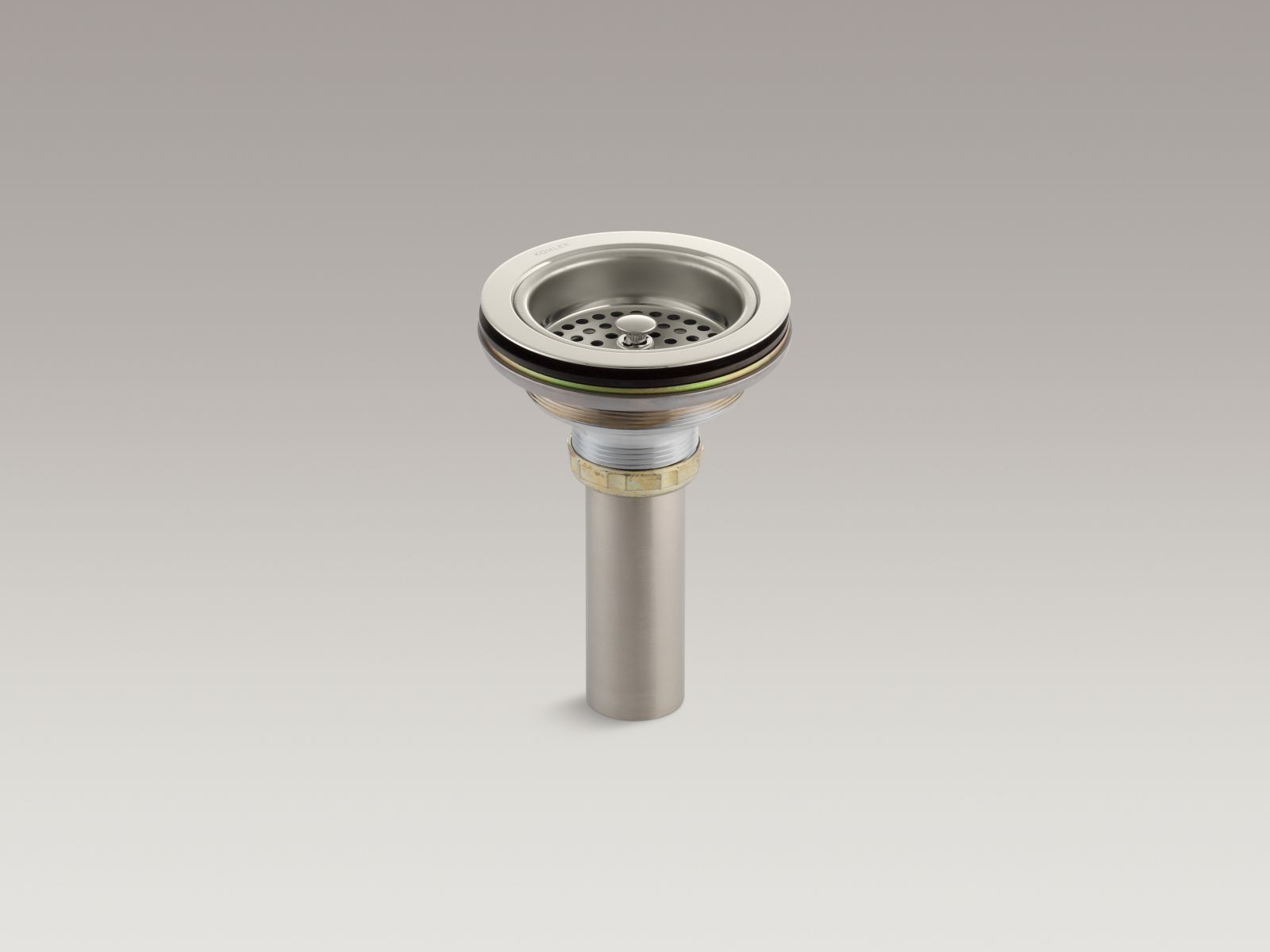 Kohler K-8801-SN Brass Basket Strainer with Tailpiece from the Duostrainer Collection, Polished Nickel