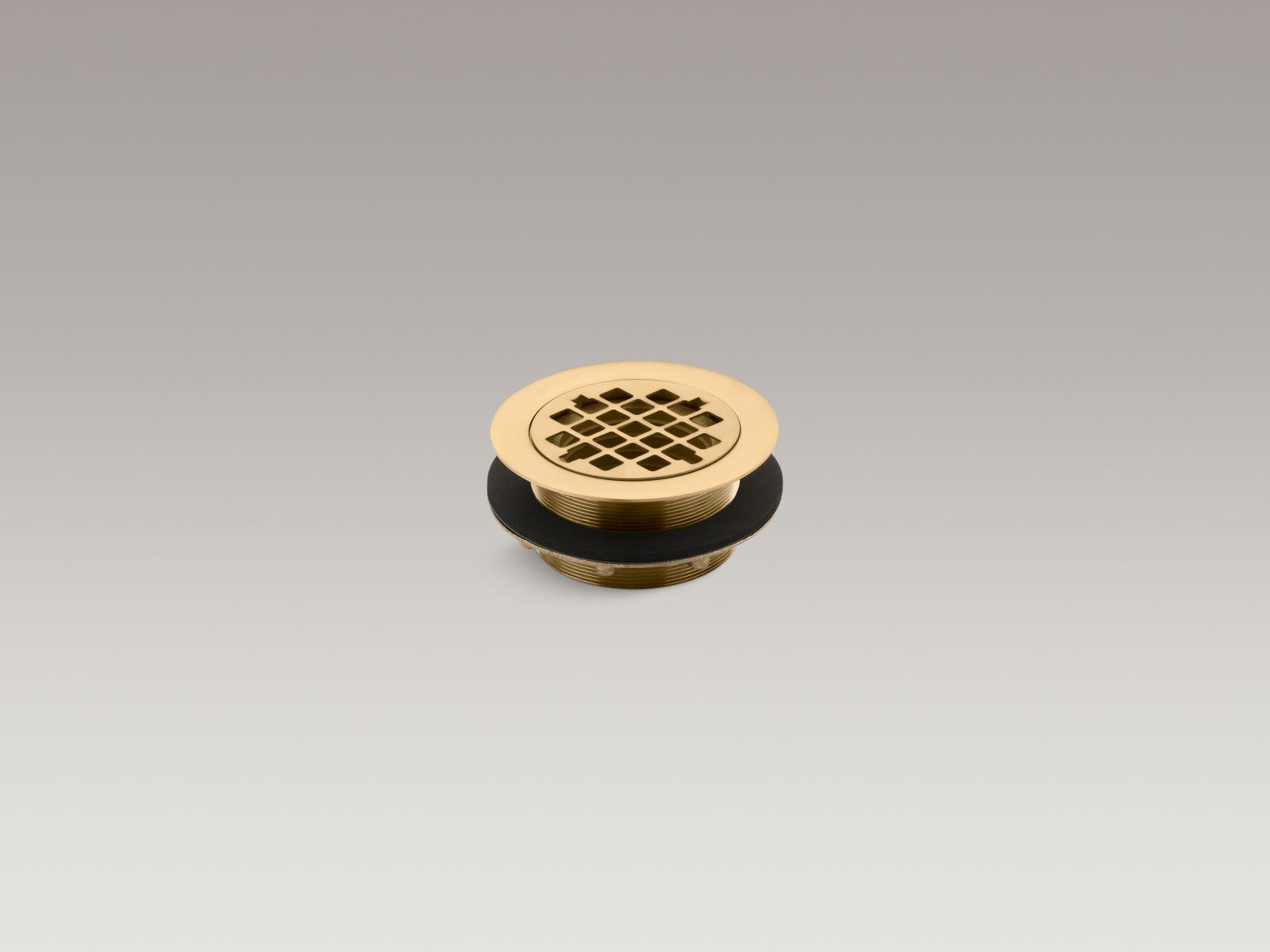 Kohler K-9132-BGD Round Shower Base Drain with Plastic Pipe Gasket Vibrant Moderne Brushed Gold