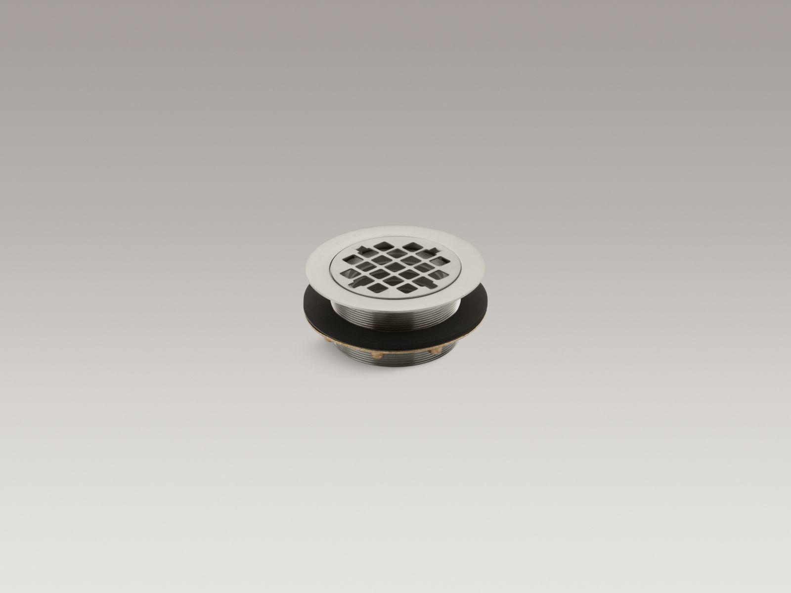 Kohler K-9132-BN Round Shower Base Drain with Plastic Pipe Gasket Vibrant Brushed Nickel
