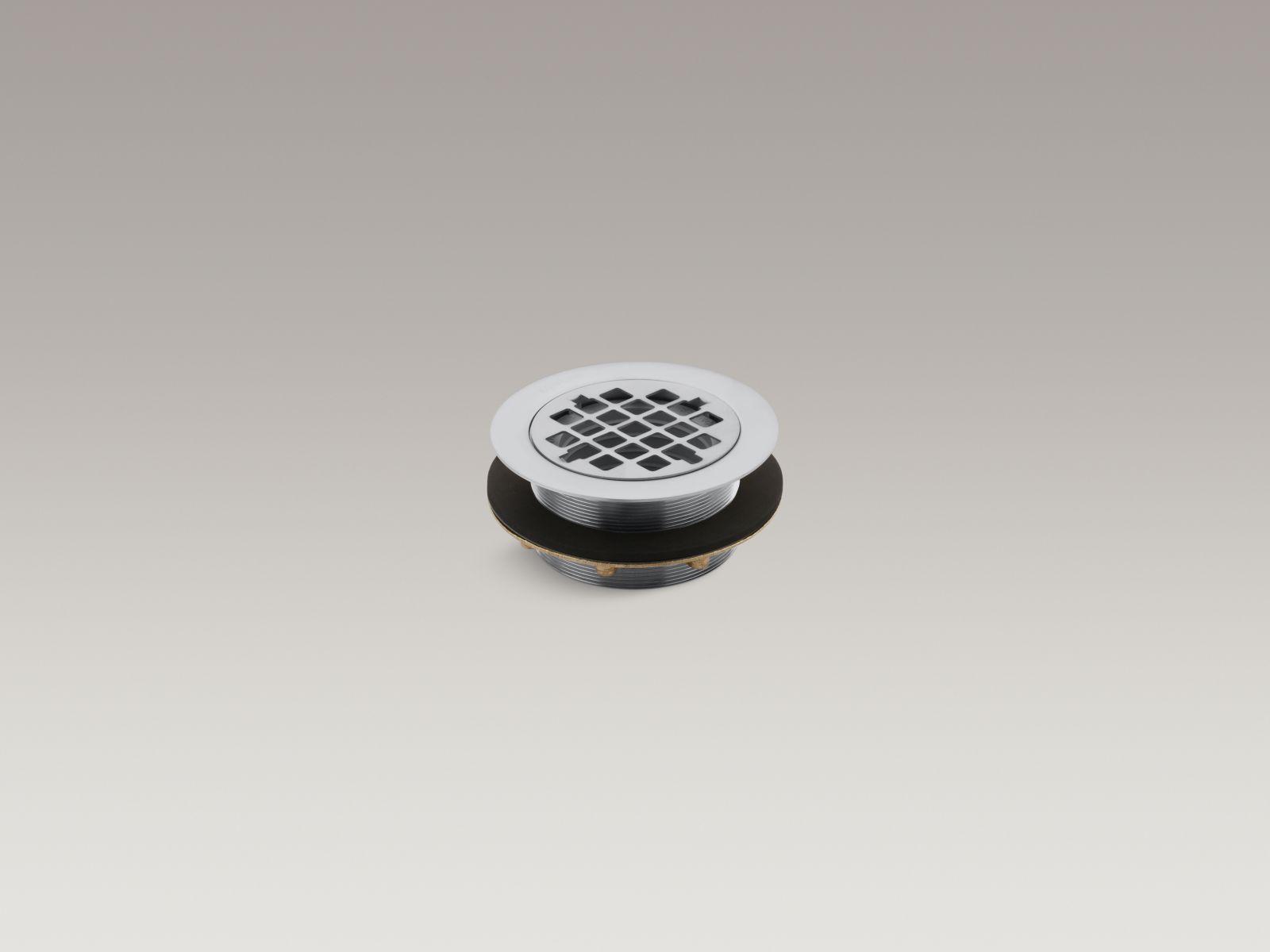 Kohler K-9132-G Round Shower Base Drain with Plastic Pipe Gasket Brushed Chrome