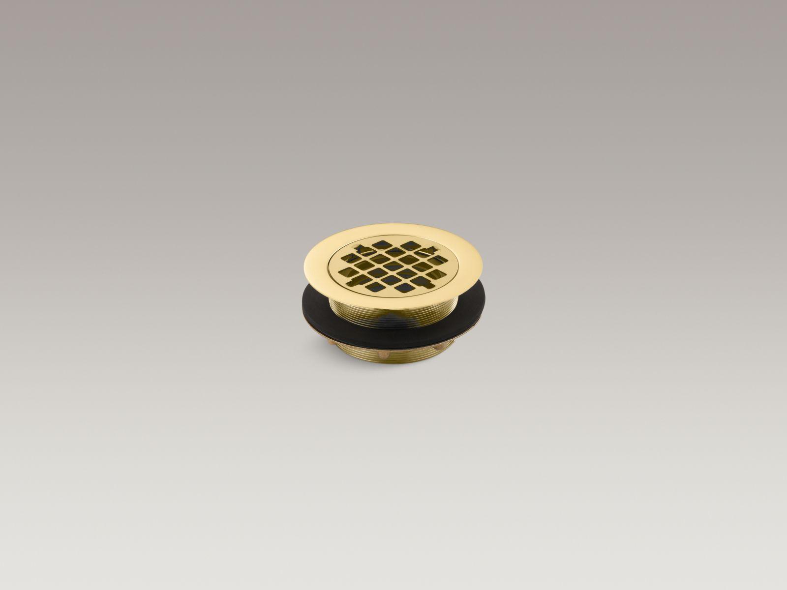 Kohler K-9132-PB Round Shower Base Drain with Plastic Pipe Gasket Vibrant Polished Brass