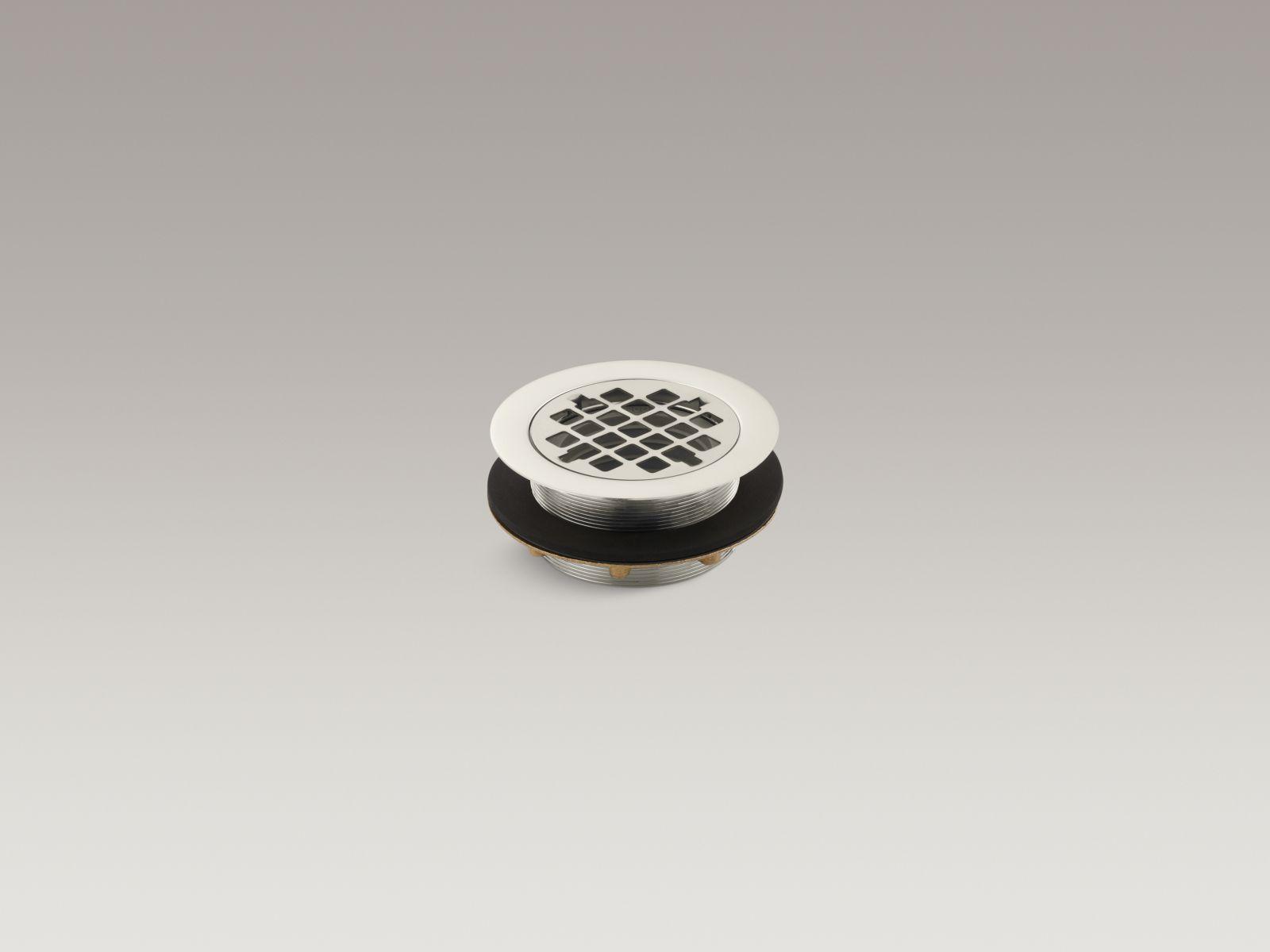Kohler K-9132-SN Round Shower Base Drain with Plastic Pipe Gasket Vibrant Polished Nickel
