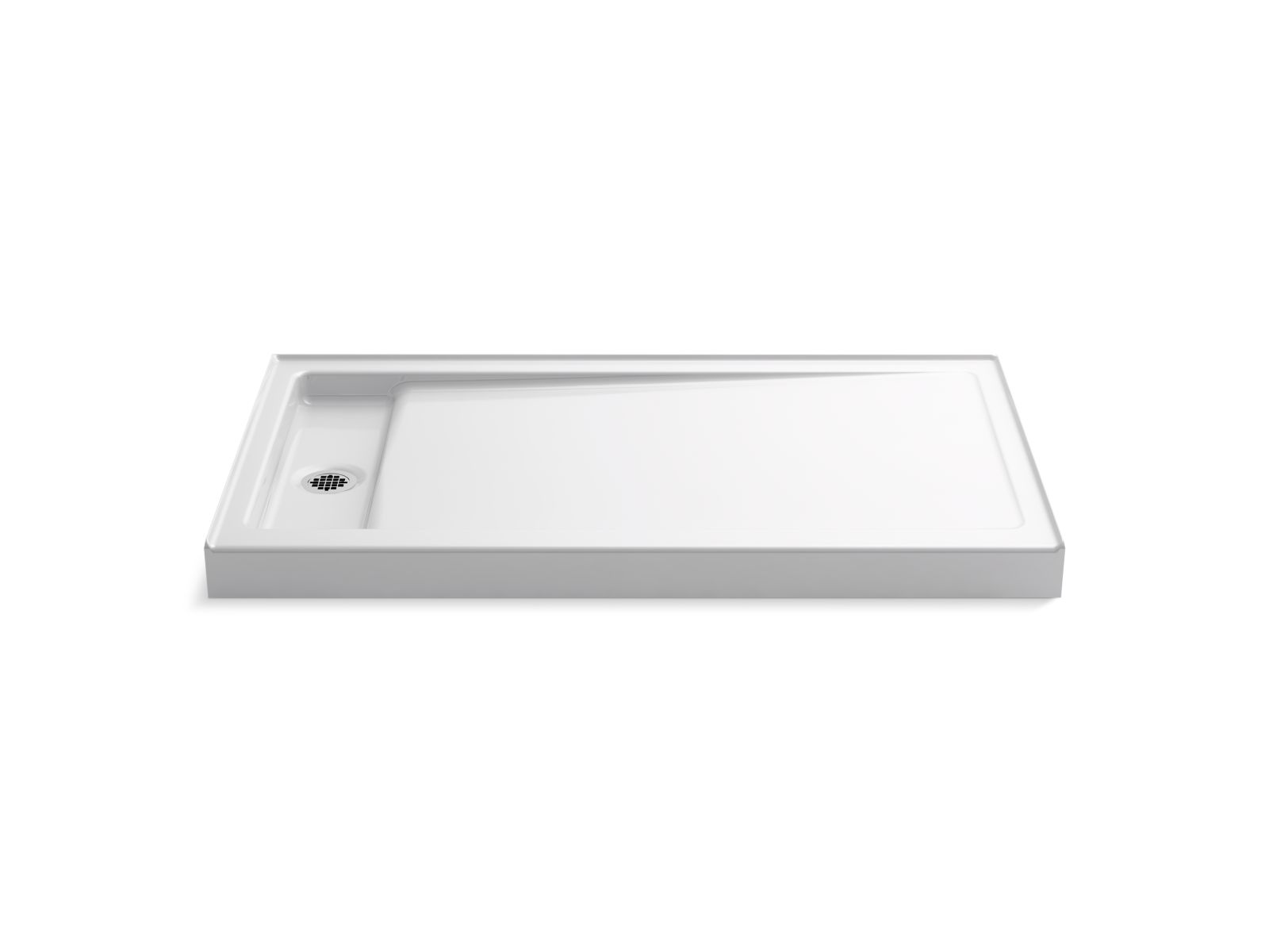 "Kohler Bellwether® K-9177-0 60"" x 34"" single-threshold shower base with left center drain White"