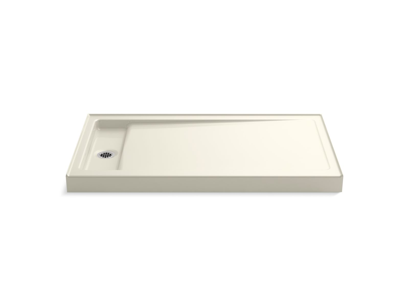 "Kohler Bellwether® K-9177-96 60"" x 34"" single-threshold shower base with left center drain Biscuit"