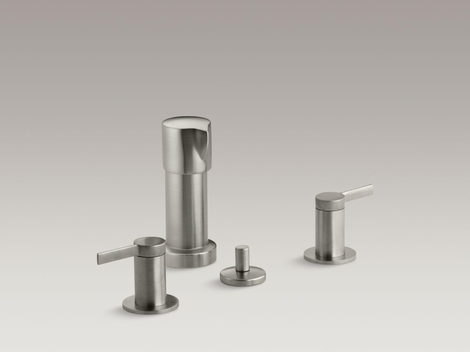 Kohler K-960-4-BN Stillness Vertical Spray Bidet Faucet with Lever Handles Brushed Nickel