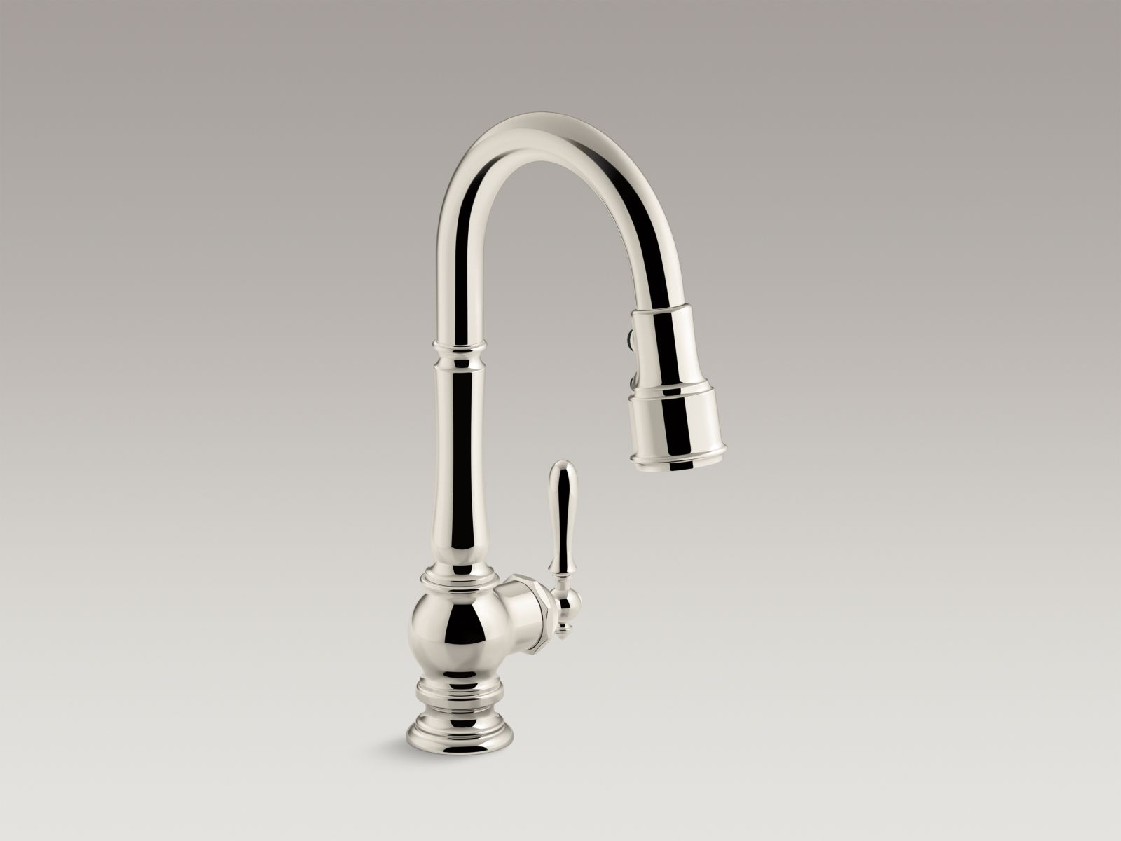 "Kohler Artifacts® K-99261-SN single-hole kitchen sink faucet with 16"" pull-down spout and turned lever handle, DockNetik™ magnetic docking system, and 3-function sprayhead featuring Sweep™ and BerrySoft™ spray Vibrant Polished Nickel"