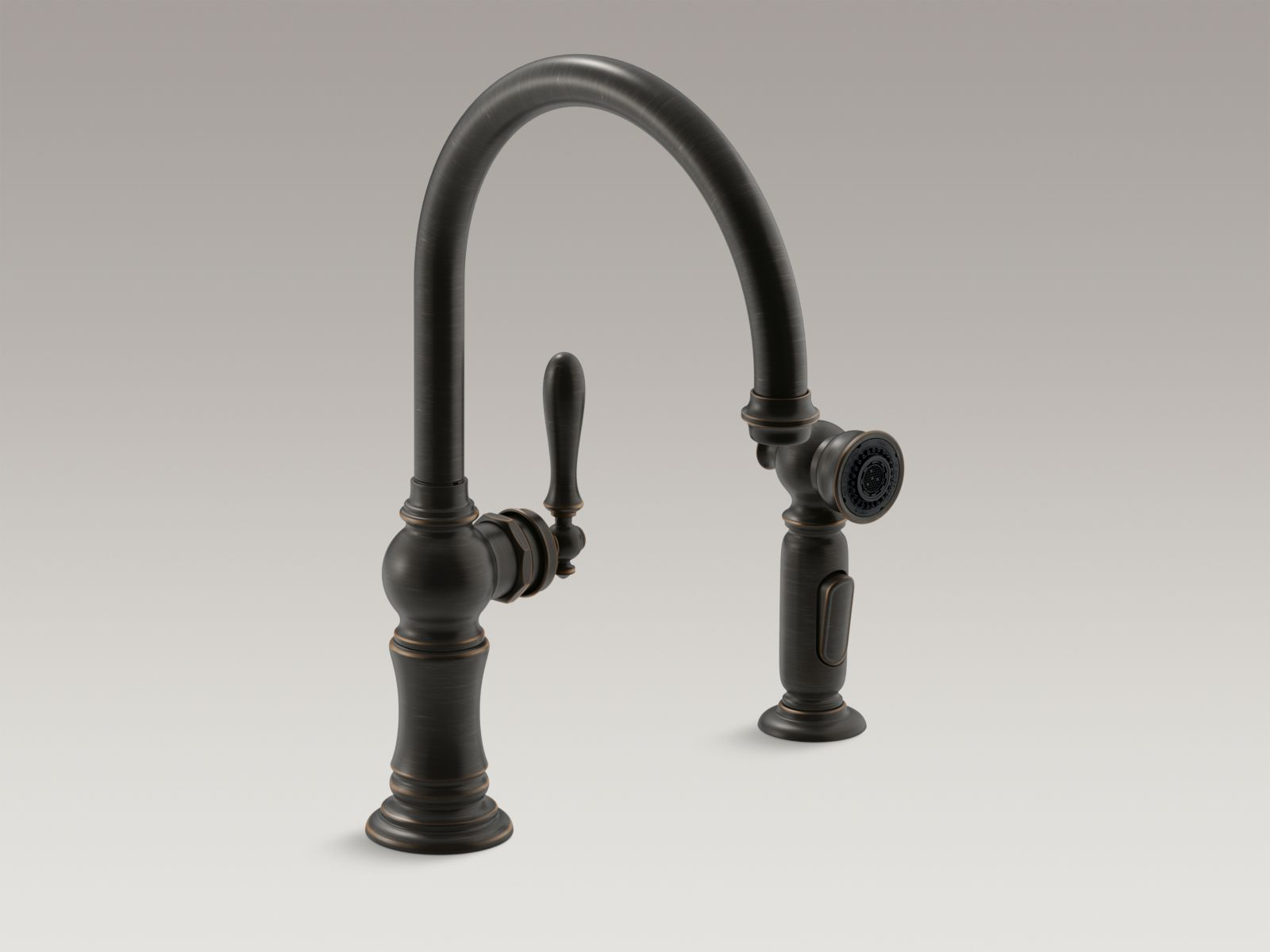 "Kohler Artifacts® K-99262-2BZ 2-hole kitchen sink faucet with 14-11/16"" swing spout and matching finish two-function side-spray with Sweep™ and BerrySoft™ spray, Arc spout design Oil-rubbed Bronze"