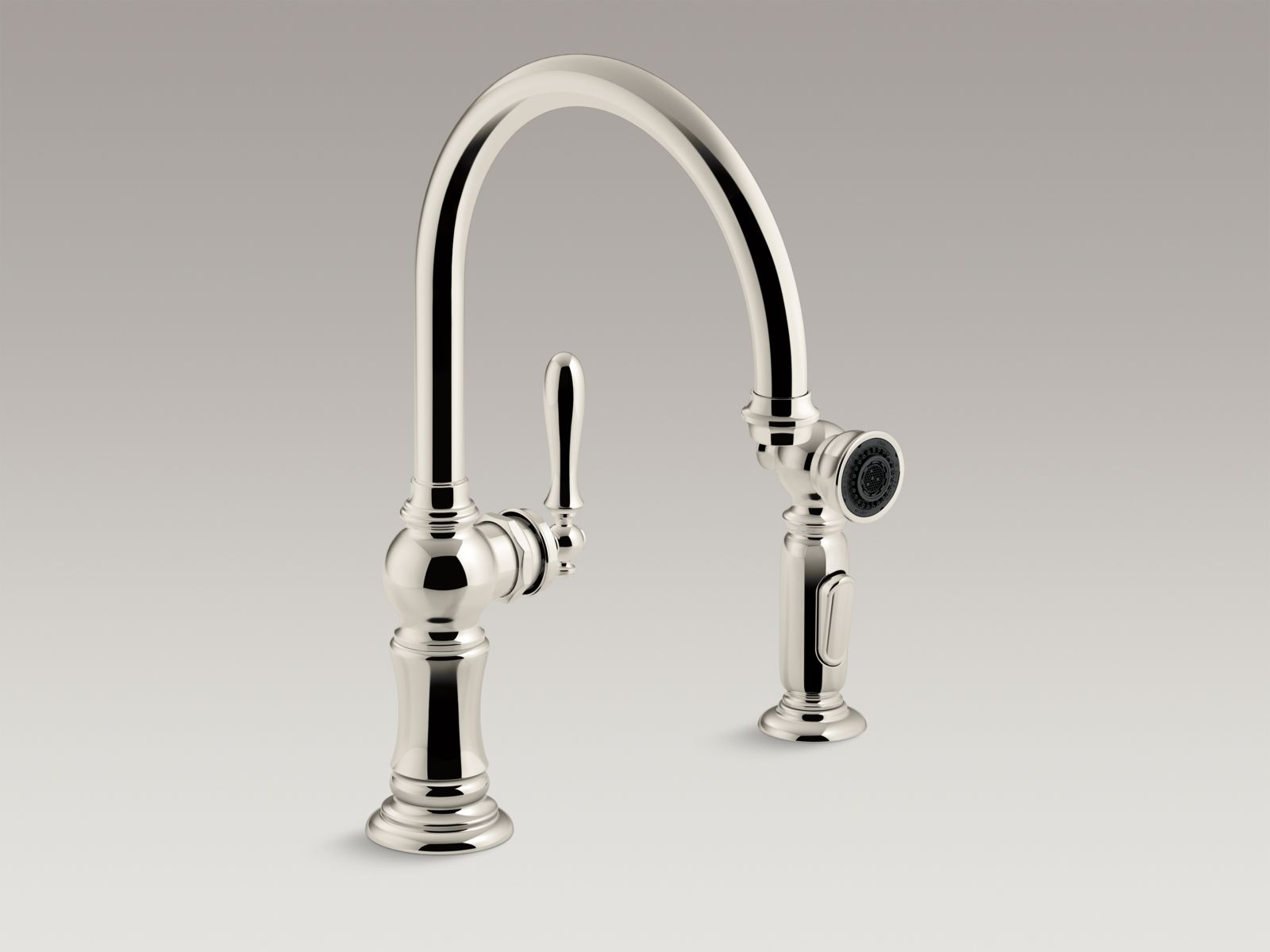 "Kohler Artifacts® K-99262-SN 2-hole kitchen sink faucet with 14-11/16"" swing spout and matching finish two-function side-spray with Sweep™ and BerrySoft™ spray, Arc spout design Vibrant Polished Nickel"