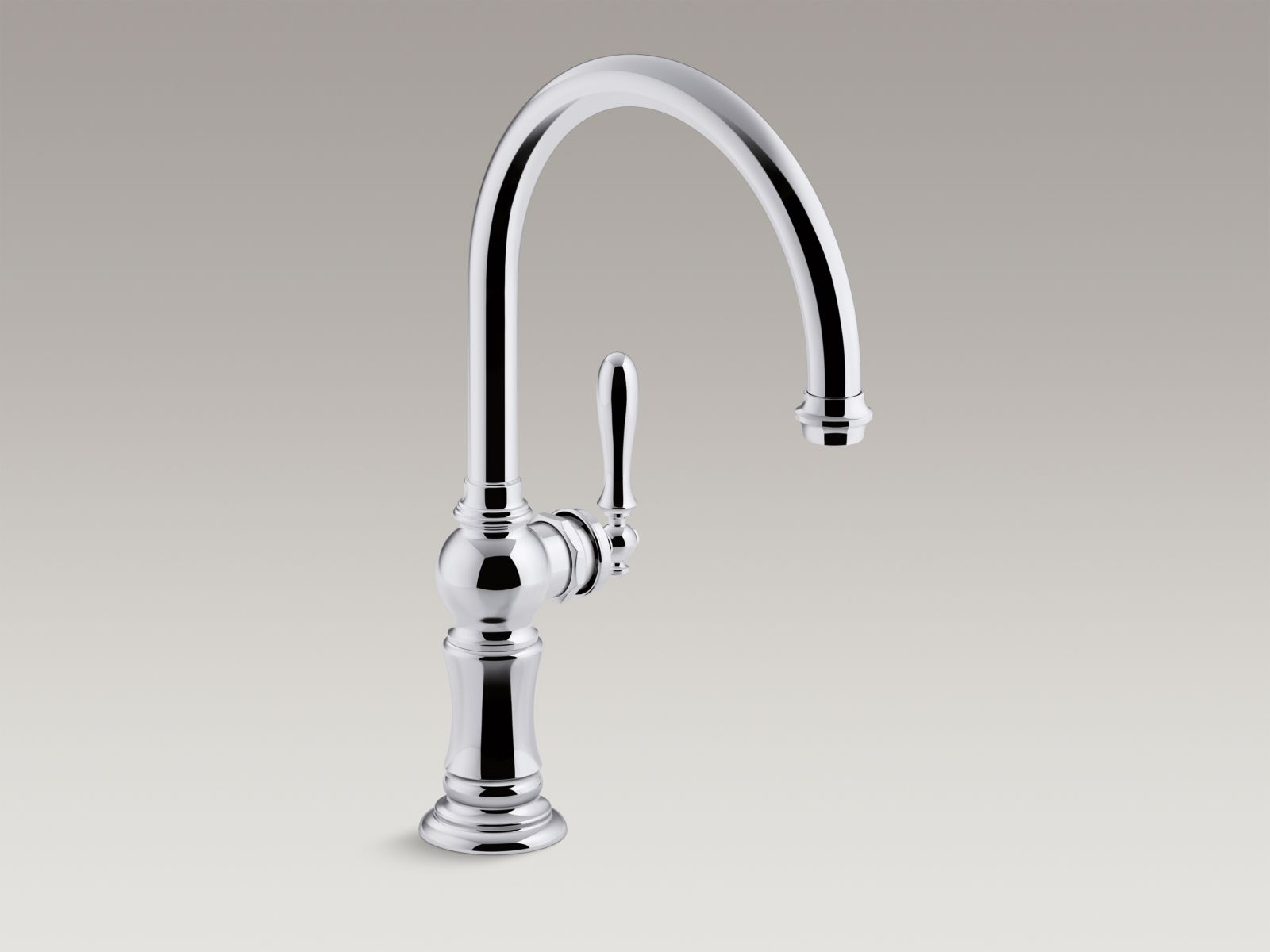"Kohler Artifacts® K-99263-CP single-hole kitchen sink faucet with 14-11/16"" swing spout, Arc spout design Polished Chrome"