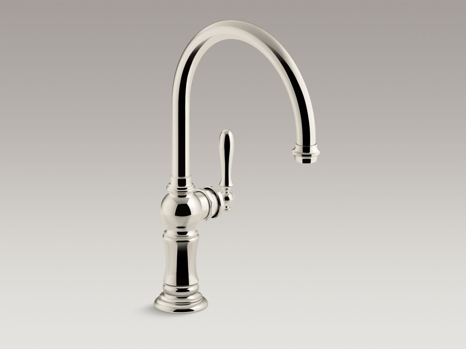 "Kohler Artifacts® K-99263-SN single-hole kitchen sink faucet with 14-11/16"" swing spout, Arc spout design Vibrant Polished Nickel"