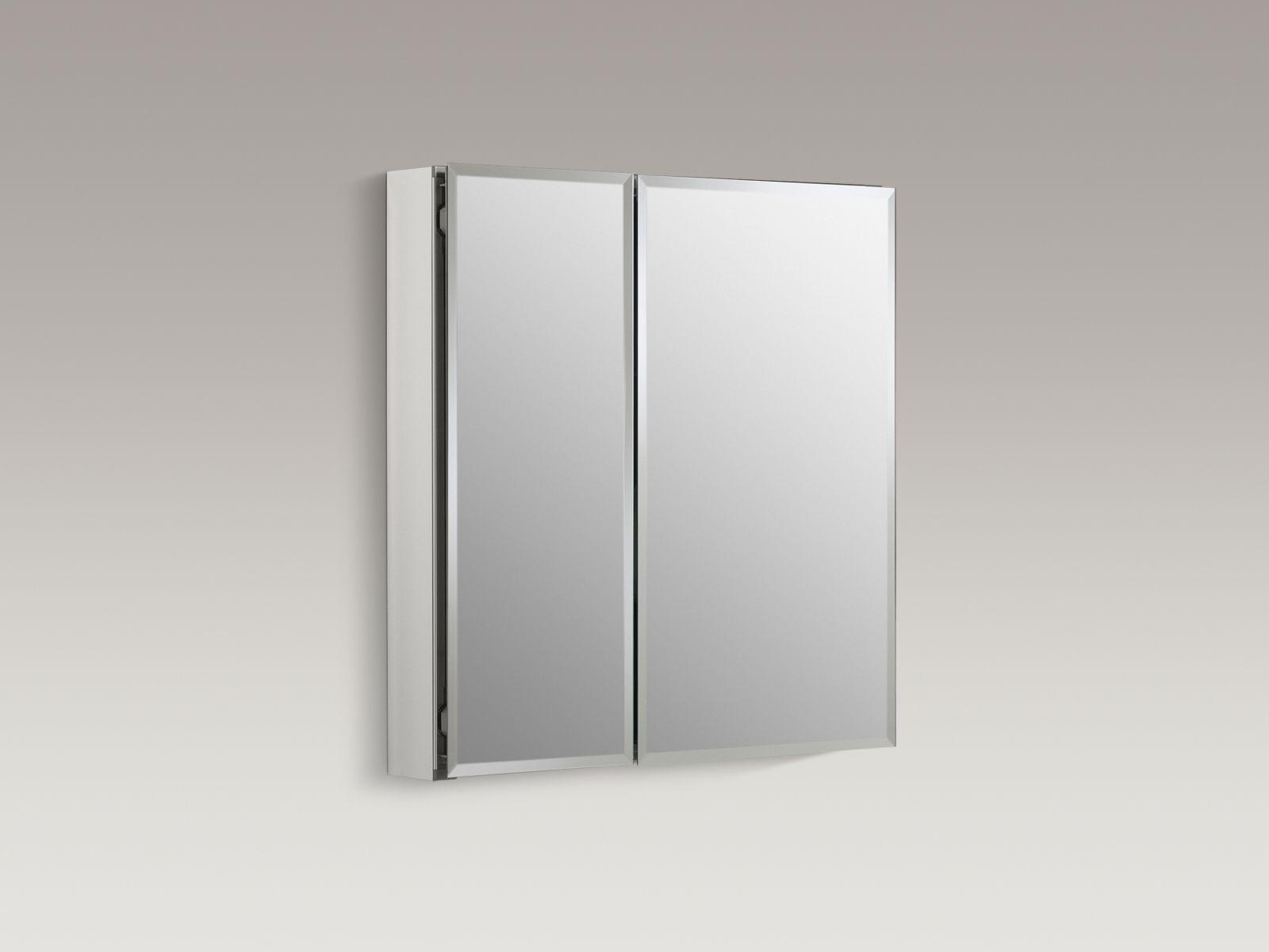 "Kohler K-CB-CLC2526FS Aluminum 25"" x 26"" Two-door Medicine Cabinet with Square Mirrored Doors"