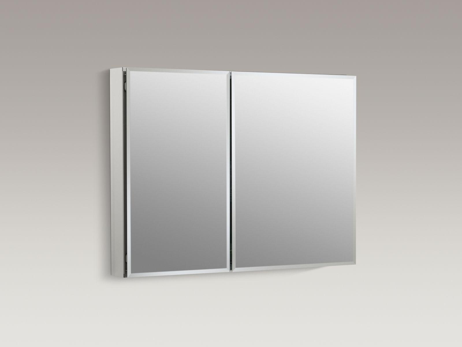 "Kohler K-CB-CLC3526FS Aluminum 35"" x 26"" Two-door Medicine Cabinet with Square Mirrored Doors"