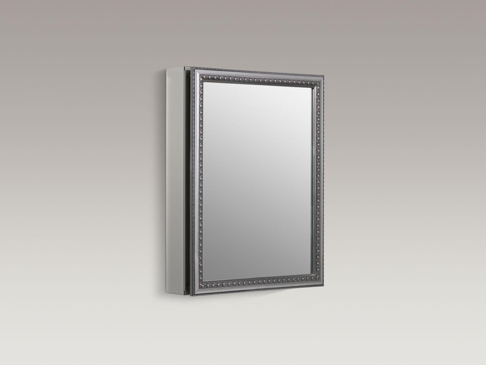 "Kohler K-CB-CLW2026SS Aluminum 20"" x 26"" Single-door Medicine Cabinet with Decorative Silver Framed Mirrored Door"