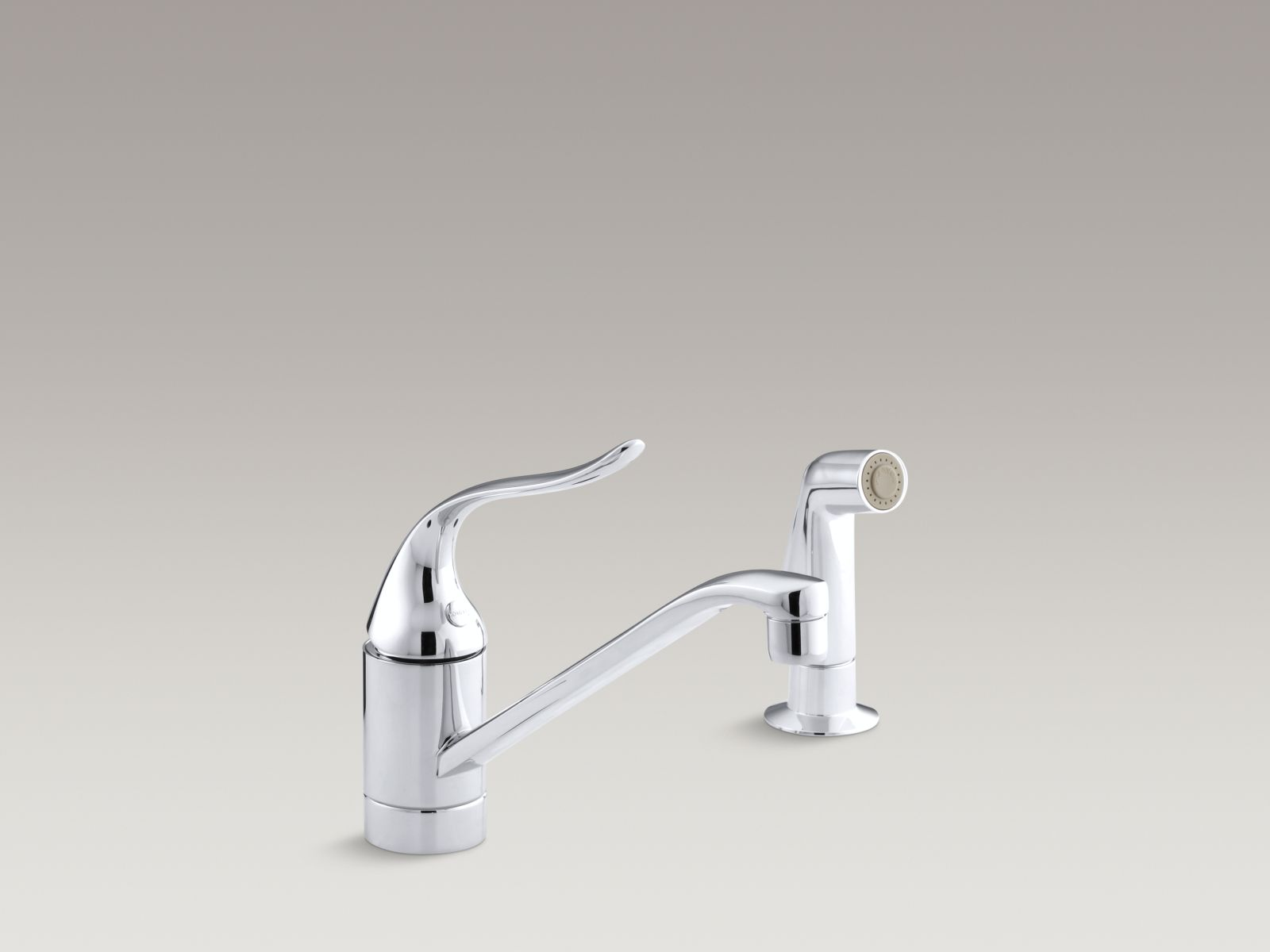 "Kohler K-P15176-P-CP Coralais Single-handle Kitchen Faucet with Lever Handle, Sidespray, Ground Joints, and 8-1/2"" Spout Polished Chrome"