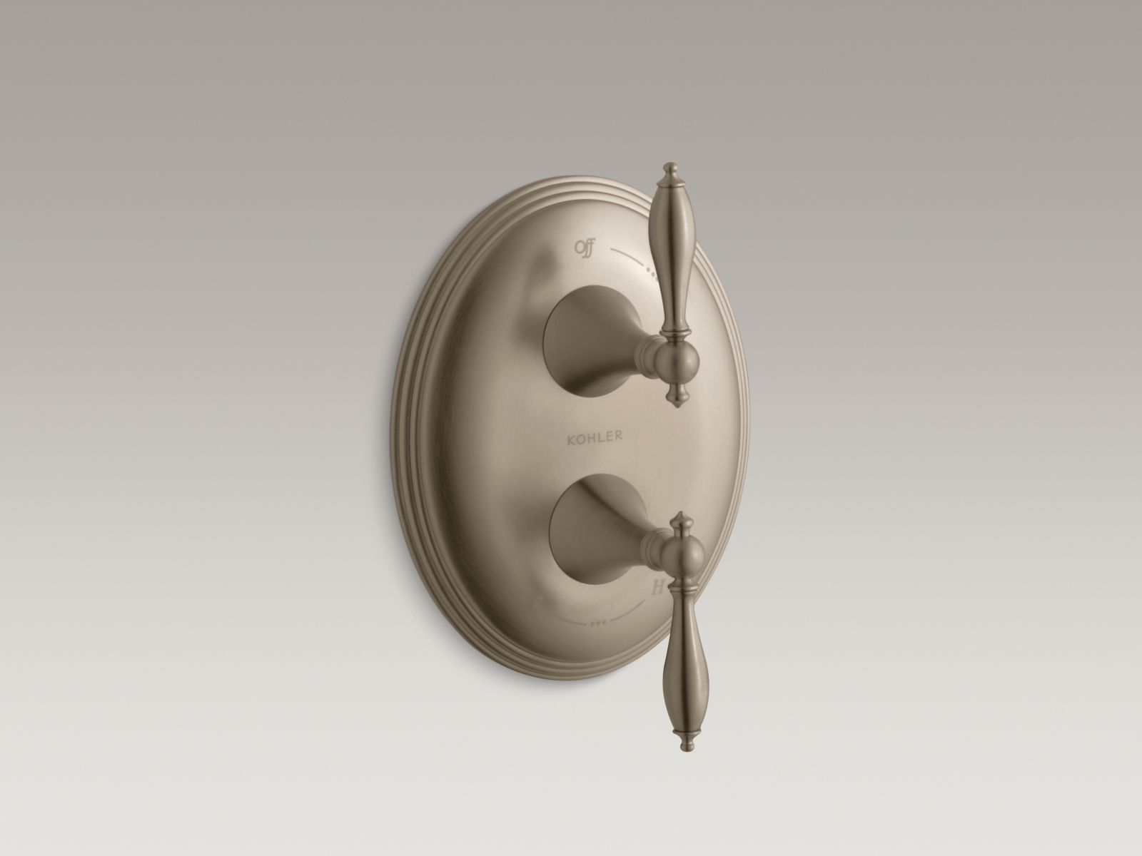 Kohler K-T10302-4M-BV Finial Stacked Volume and Transfer Valve Trim with Lever Handles Brushed Bronze