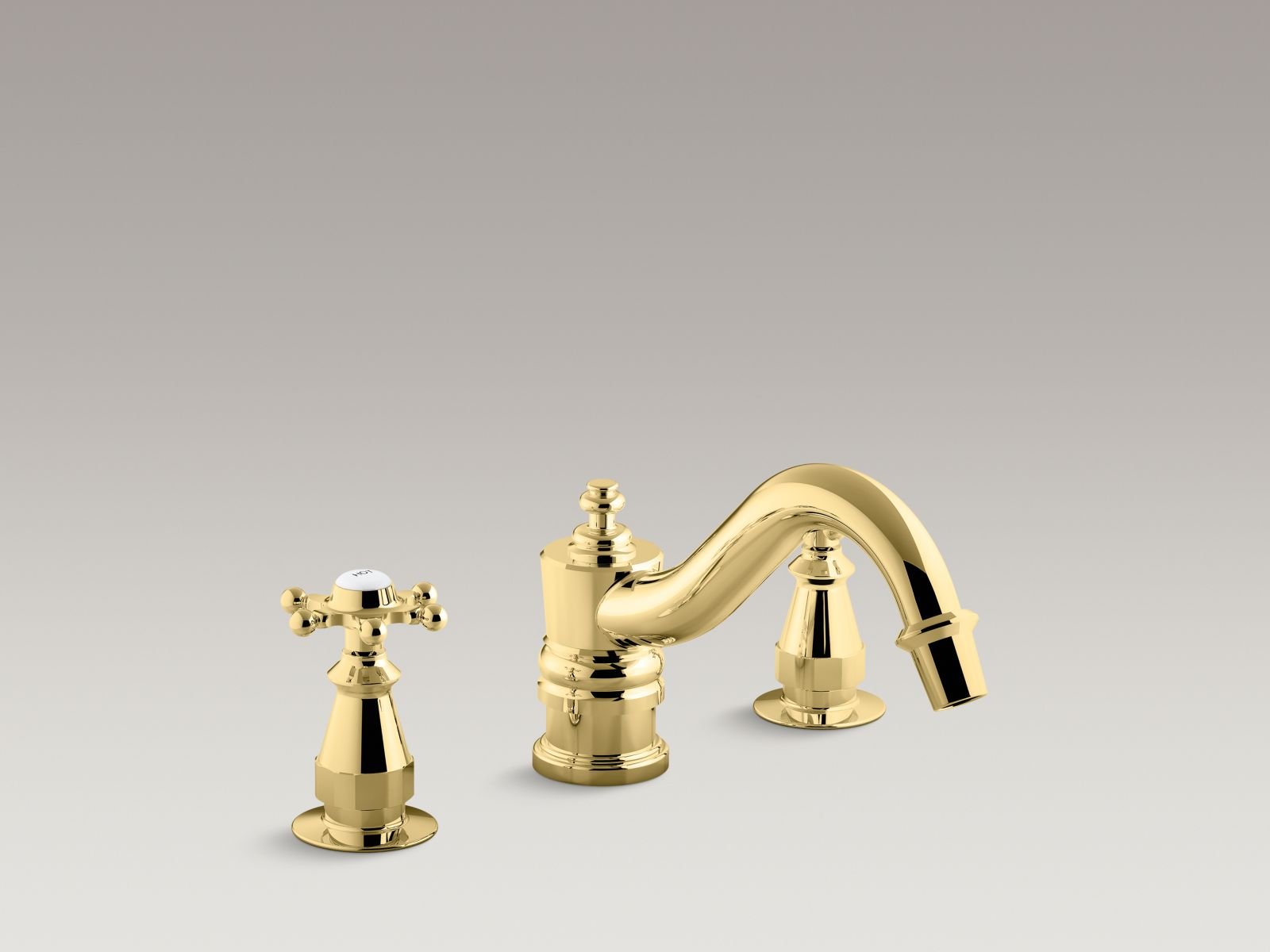 Kohler Antique K-T125-3-PB Bath faucet trim for deck-mount high-flow valve with 6-prong handles, valve not included Vibrant Polished Brass
