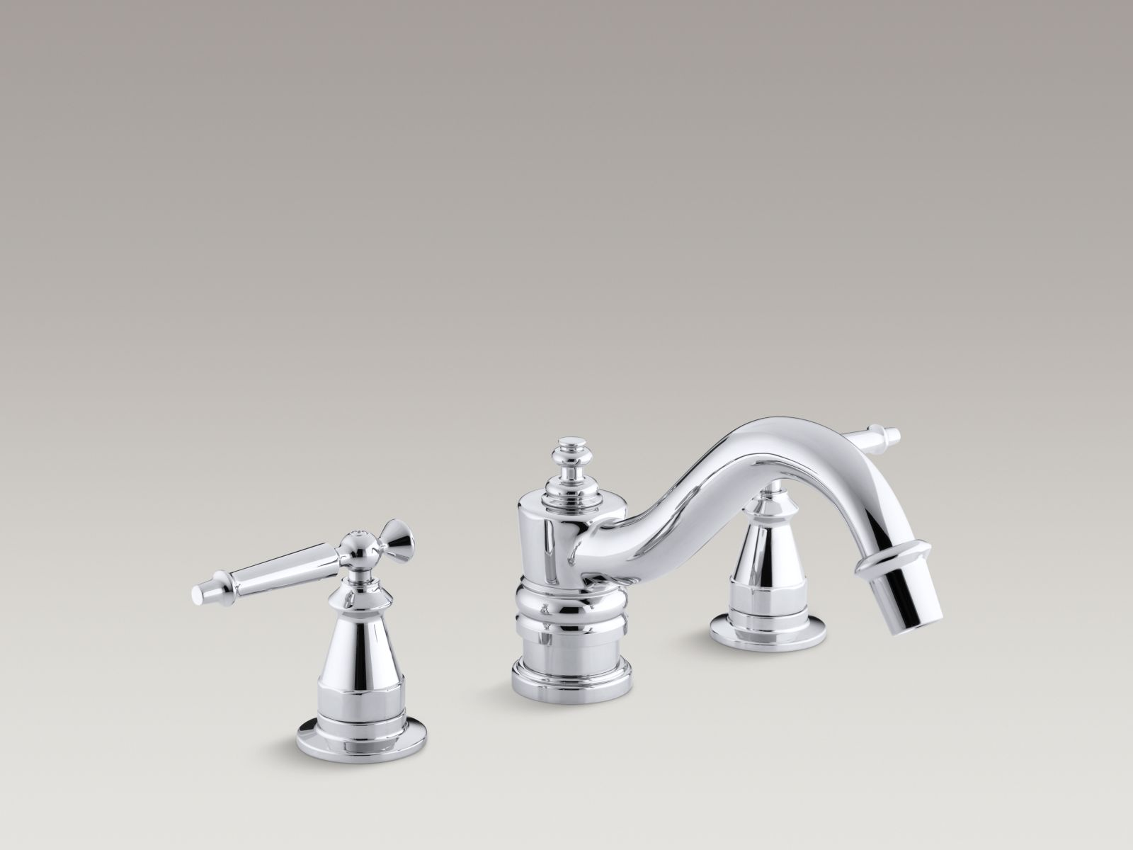 Kohler Antique K-T125-4-CP Bath faucet trim for deck-mount high-flow valve with lever handles, valve not included Polished Chrome