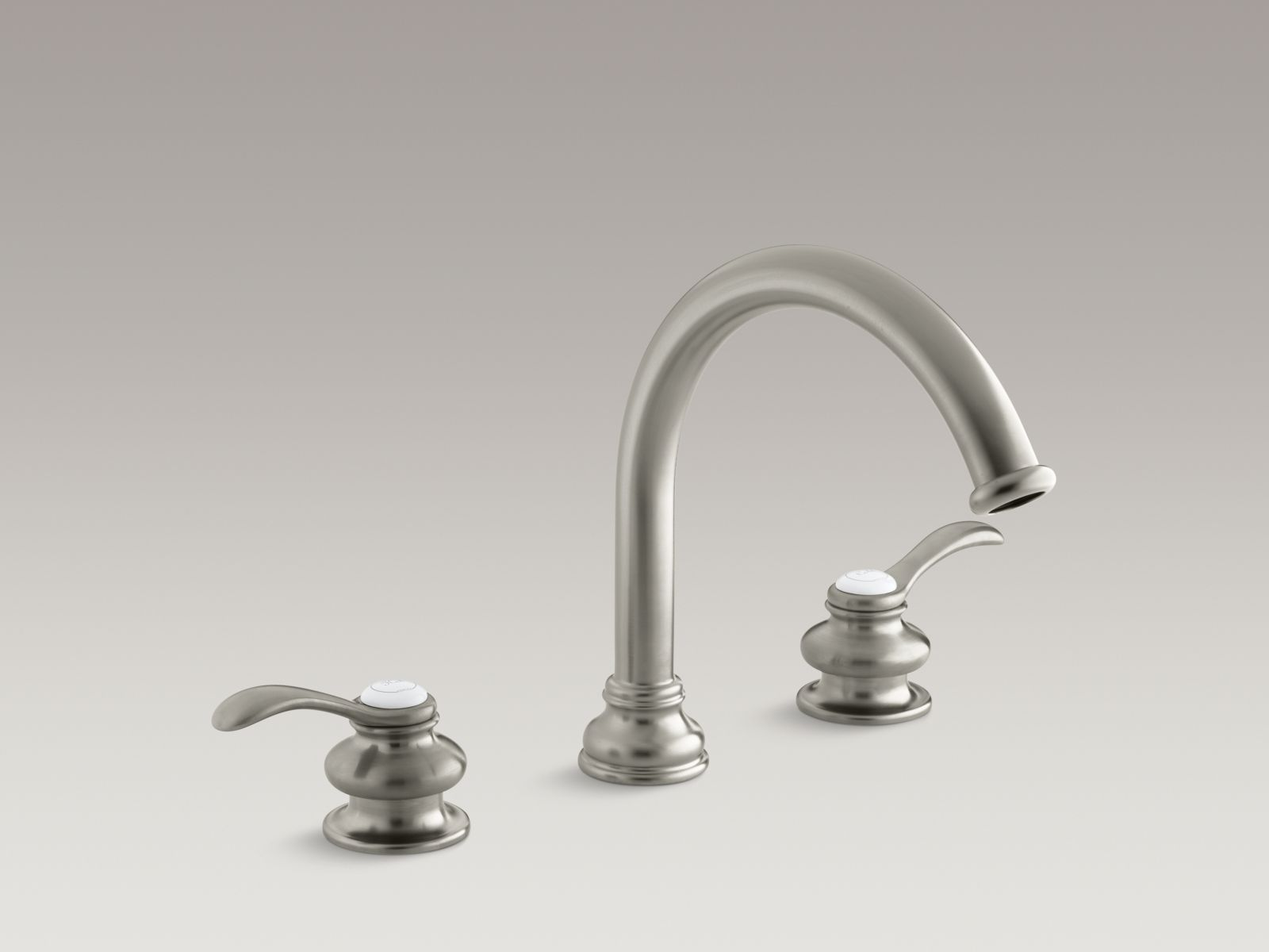 "Kohler Fairfax® K-T12885-4-BN Deck-mount bath faucet trim with lever handles and traditional 8-7/8"" non-diverter slip-fit spout, valve not included Vibrant Brushed Nickel"