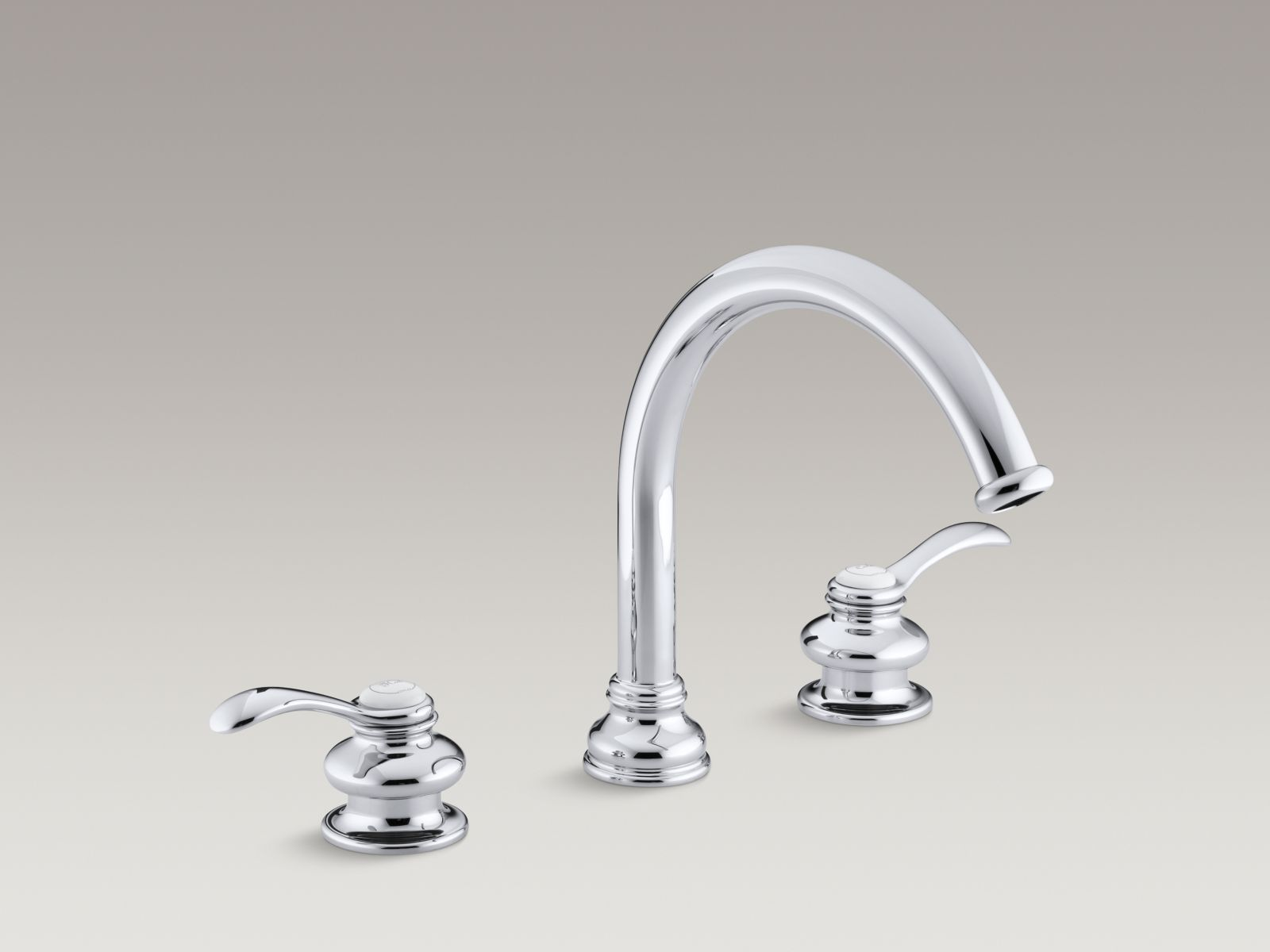 "Kohler Fairfax® K-T12885-4-CP Deck-mount bath faucet trim with lever handles and traditional 8-7/8"" non-diverter slip-fit spout, valve not included Polished Chrome"