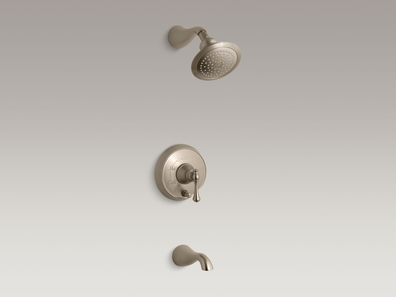 Kohler Revival® K-T16115-4A-BV Rite-Temp® pressure-balancing bath and shower faucet trim with push-button diverter and traditional lever handle, valve not included Vibrant Brushed Bronze