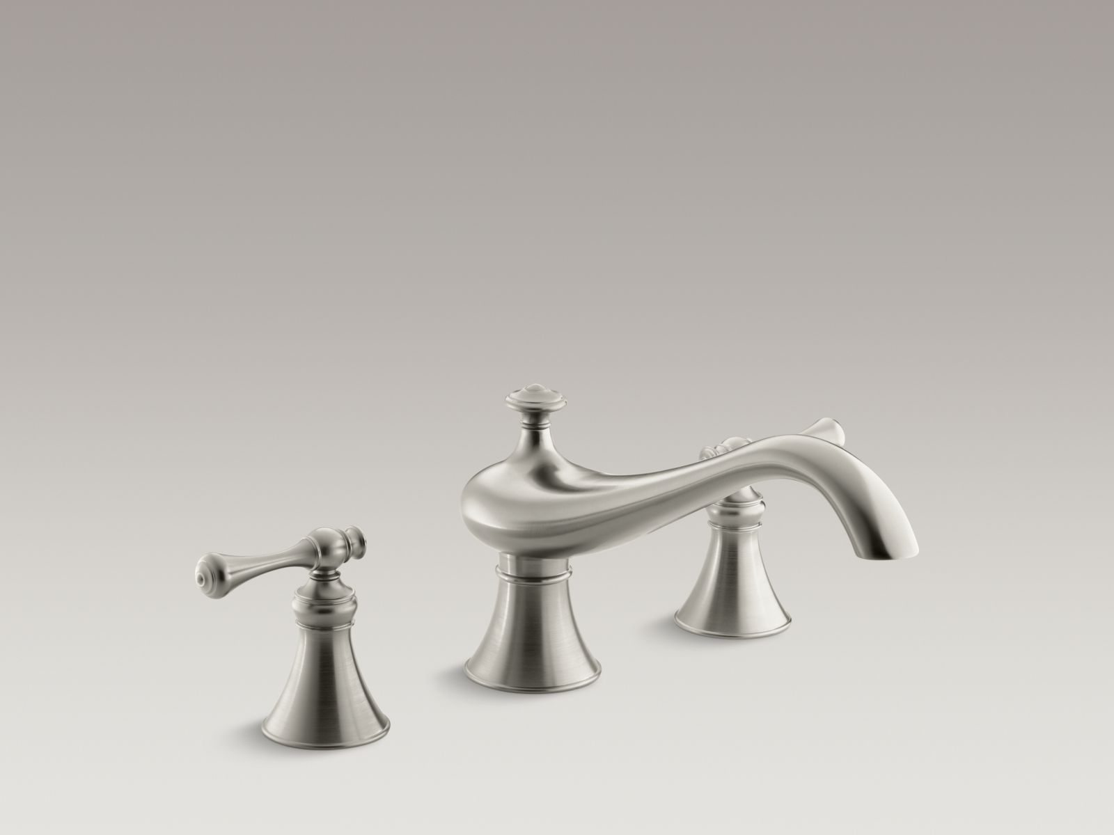 "Kohler Revival® K-T16119-4A-BN Deck-mount bath faucet trim for high-flow valve with 9-5/8"" spout, traditional lever handles, valve not included Vibrant Brushed Nickel"