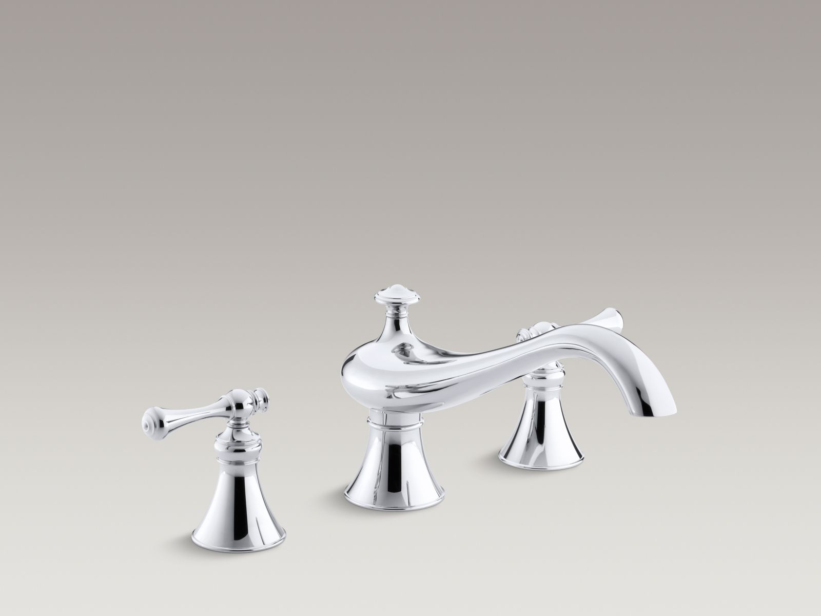 "Kohler Revival® K-T16119-4A-CP Deck-mount bath faucet trim for high-flow valve with 9-5/8"" spout, traditional lever handles, valve not included Polished Chrome"