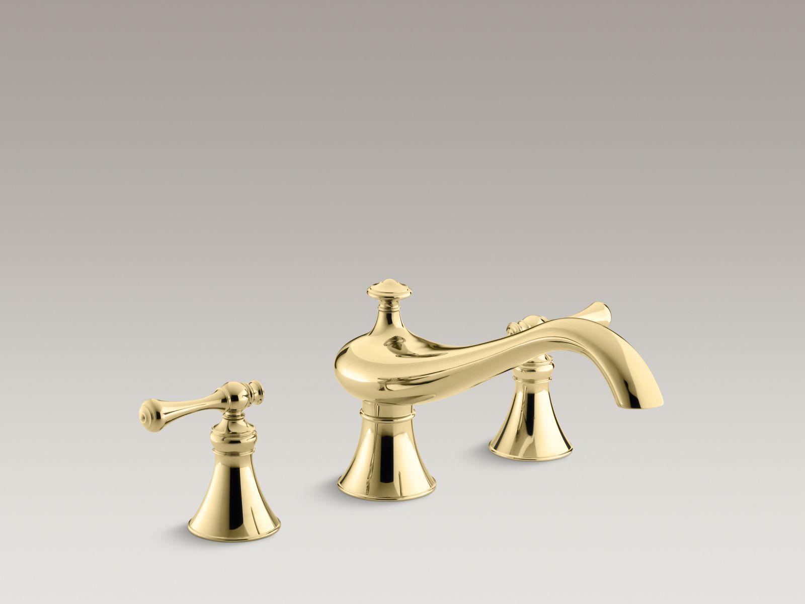 "Kohler Revival® K-T16119-4A-PB Deck-mount bath faucet trim for high-flow valve with 9-5/8"" spout, traditional lever handles, valve not included Vibrant Polished Brass"