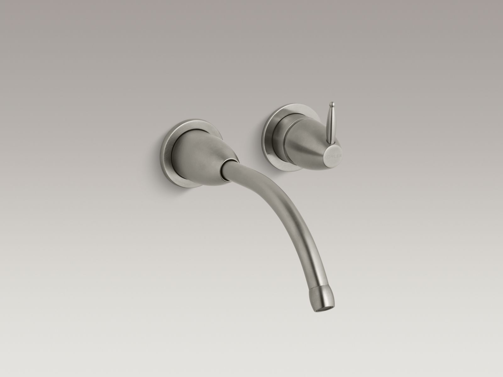"Kohler Falling Water® K-T196-BN Wall-mount bathroom sink faucet trim with 8-1/4"" spout, requires valve Vibrant Brushed Nickel"